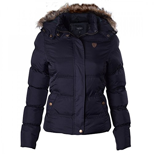 BRAVE SOUL Ladies Womens Designer Fur Hooded Short Jacket Quilted Puffer Padded Coat UK 8 /US 6/ AUS 10/ EU 36/ X Small Black