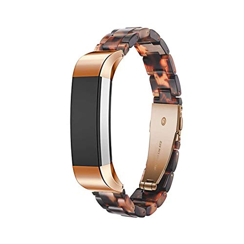 Ayeger Resin Band Compatible with Fitbit Alta/Alta HR/Ace,Women Men Resin Accessory Rose Gold Buckle Band Wristband Strap Blacelet for Fitbit Alta/Alta HR/Ace Smart Watch Fitness(Tortoise)