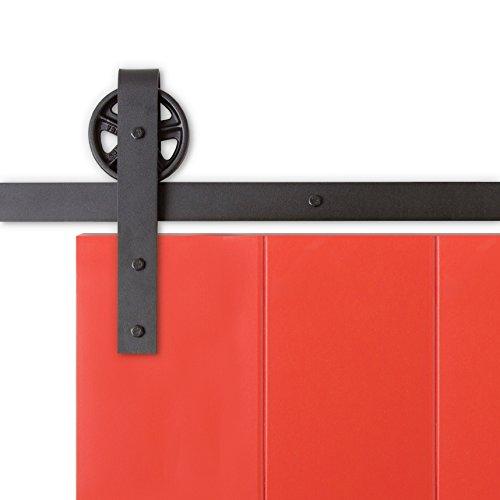 Hahaemall Modern metal Wheel roller double Sliding Barn Doors Hardware Track nero Hanger Rolling kit per armadio