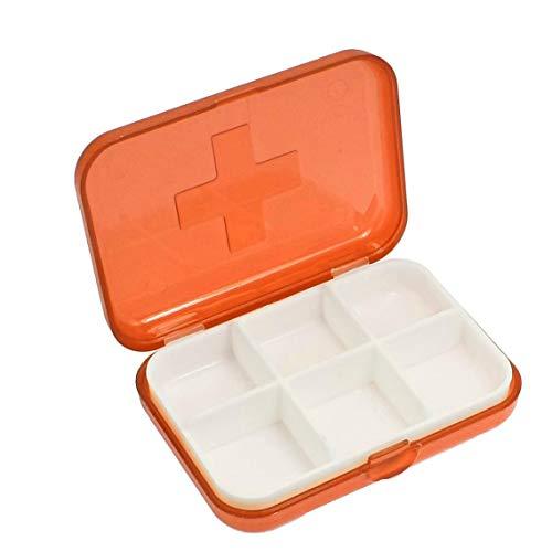 Porta Pillole 6 Scomparti Tascabile, Pillole Organizzatore Contenitore per Pillole, Porta Medicine, Pastiglie, Integratori (Arancione)