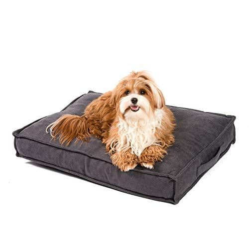 JAMAXX Premium Hundekissen Orthopädisch Weich Memory Foam, Waschbar, Nässeschutz Wasserabweisend - Dicke Füllung Visco Elastische Flocken, Flauschig Samtartiger Stoff, PDB1001 braun (S) 65x50