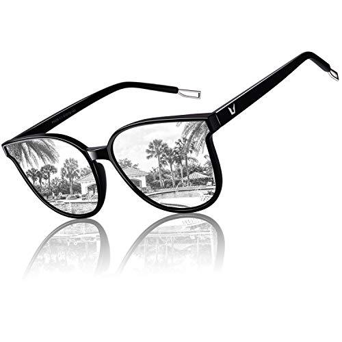 CGID GID Modische Oversized Runde Polarisierte Sonnenbrille für Frauen Retro Damen Sonnenbrille 100% UV400 Brille Schwarzer Gestell Silber Verspiegelte Gläser M58