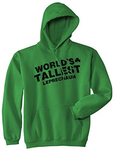 Crazy Dog Tshirts - Worlds Tallest Leprechaun Hoodie Funny Sarcastic Saint Patricks Day Sweatshirt (Green) - 3XL - Homme