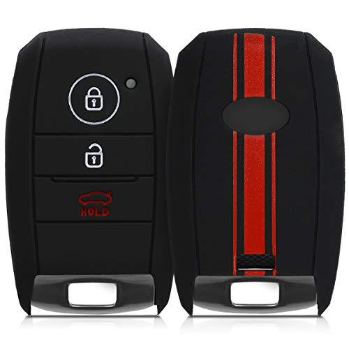 kwmobile Autoschlüssel Hülle kompatibel mit Kia 3-Tasten Smartkey Autoschlüssel - Silikon Schutzhülle Schlüsselhülle Cover Rallystreifen Sidelines Rot Schwarz