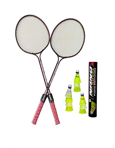 Badminton Racket Rohit's Imagine Set of 2 Piece (1 Pair) with 10 Piece Plastic Shuttlecock Nano Combo Pack. Color May Vary.