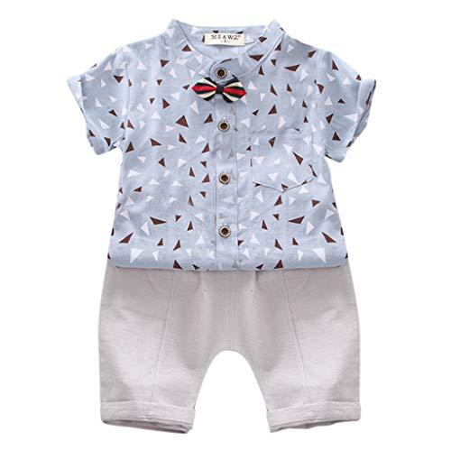 Hui.Hui Ensembles Bébé Enfants Garçons Chemises Manches Courtes Gentleman avec col T-Shirt Tops + Shorts Mignonne 6 Mois -3 Ans