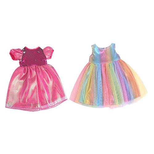 Milageto 2 stuks poppenrok 43 cm zomerjas handgemaakt voor meisjes