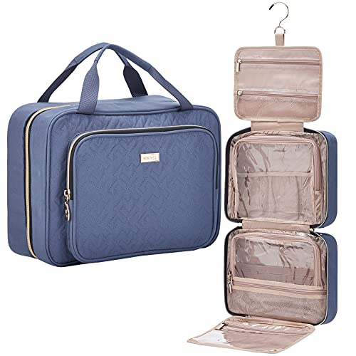 NISHEL 4 Sections Hanging Travel Toiletry Bag Organizer, Water Resistant Large Makeup Cosmetic Case for Bathroom Shower, Aegean-Blue