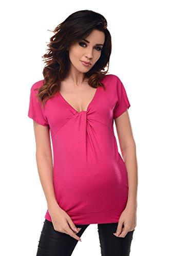 Purpless Maternity Maternité Col en V Noeud Torsadé Devant Grossesse Chemisier pour Femme Enceinte 6065 (44, Hot Pink)