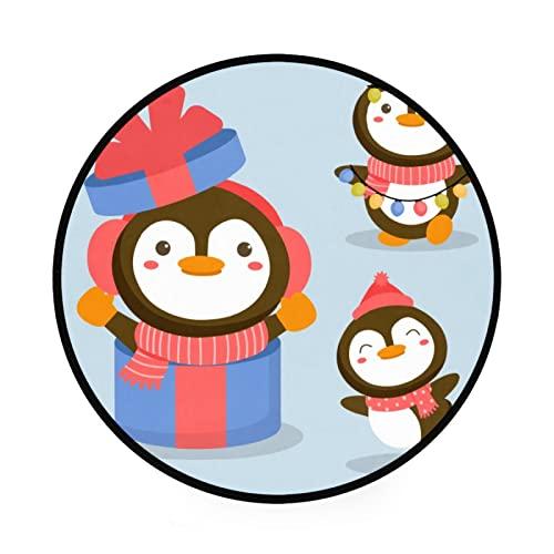 Alfombra redonda de pingüino caja de regalo de animales CaracterNon Slip Gym Play Mat Gateando Mat de gran diámetro plegable suave y lavable juguetes organizador de almacenamiento