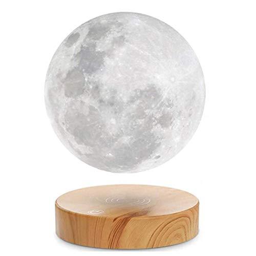 SISI Levitierende Mondlampe, Schwebend Und Frei Drehen in Der Luft Mit Hölzerner Basis Und 3D-Druckmondlicht Magnetische Aufhängung Balanced-LED-Schalterlampe,B