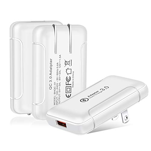 Wall Charger with USB Ports, Costyle 3 Pack 18W Quick Charge QC 3.0 Slim USB Wall Plug Adapter Fast Charging Block with Foldable Plug Compatible for iPhone 11 XR 8 Plus, Samsung Galaxy S10 S9 (White)