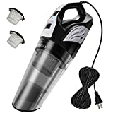 Meiyou Handheld Vacuum, 12KPA High Powerful-Suction Corded Vacuum-Cleaner, Wet & Dry Lightweight Hand-Vac for Home and Car Cleaning, with 20ft Power Cord, 2 Filters(Black)