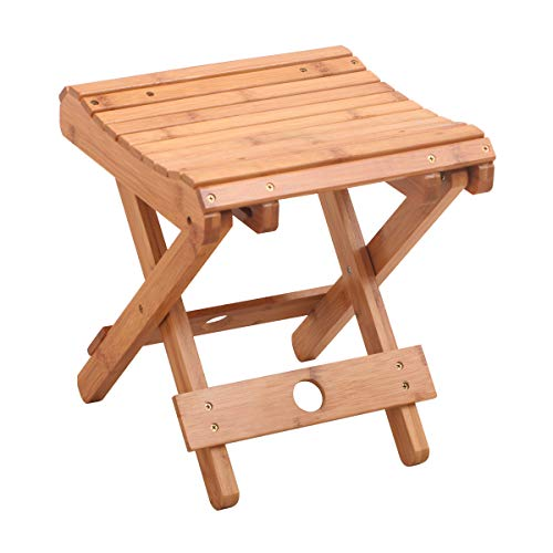 """Salafey Bamboo Folding Stool for Shaving Shower Foot Rest,Home Portable Folding Shower Seat,Fully Assembled 12.4"""" Height"""