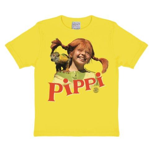 Logoshirt - Pippi Langstrumpf T-Shirt Kinder Mädchen - Äffchen Herr Nilsson - gelb - Lizenziertes Originaldesign, Größe 104/116, 4-6 Jahre, Fresh Yellow, 104