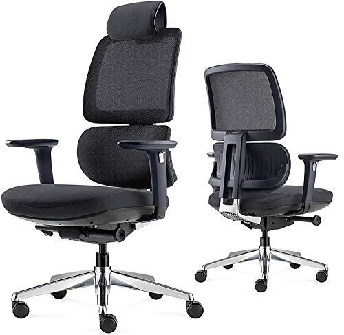 ALFA Furnishing Ergonomic Desk Chair, Executive Office Chair with Adjustable Lumbar Support, 3D Armrest, High Back Computer Chair with Sliding Seat, Rolling Swivel Home Desk Chair, Gaming Chair