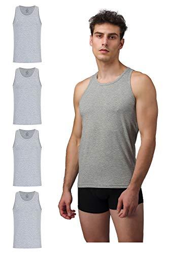 Burnell & Son Business Unterhemd Herren weiß grau schwarz blau Tank Top 4er Pack atmungsaktive Premium Baumwolle S–XXXL (4X Grau, XXXL)