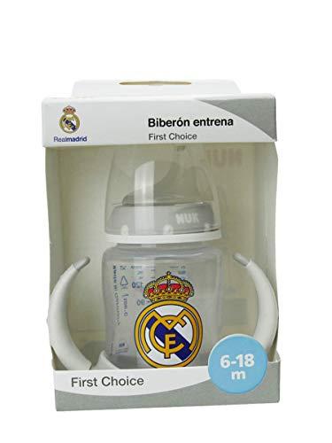 NUK Entrena First Choice Plus. Biberón ergonómico del Real Madrid de silicona, Producto Oficial, 6 a 18 Meses, Blanco 150 ml