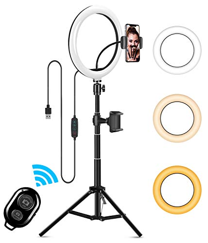 "10"" LED Selfie Ring Light, ITSHINY Dimmable Ring Light with 3 Light Modes & 11 Brightness and Tripod Stand Phone Holder for YouTube TikTok Photography Compatible with iPhone Android, Black"