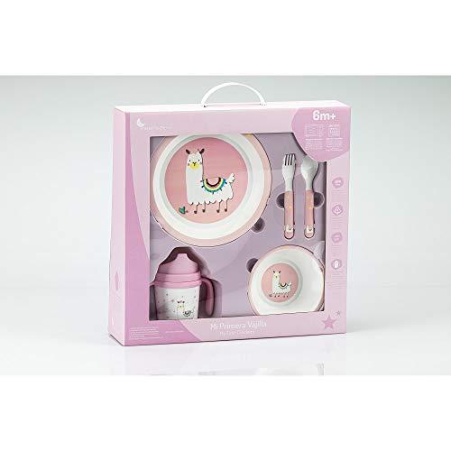 Vajilla Bebé 5 Piezas Apta para microondas + regalo de un babero (Rosa llama)