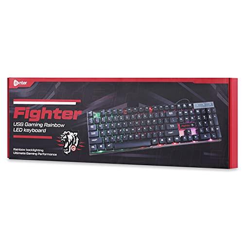 Enter Fighter USB Gaming Keyboard with Rainbow LED Lights, Windows Lock Key with 12 Multimedia Keys, Splash Resistant, LED Control Key