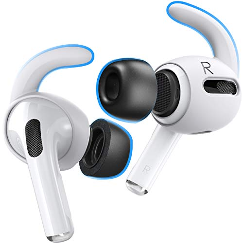 Proof Labs Memory Foam Tips and Ear Hooks Accessories for AirPods Pro (3 Pairs S, M, L Buds, 3 Pairs White Hooks)
