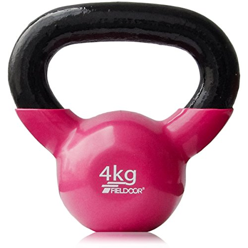 FIELDOOR ケトルベル 4kg PVCコーティング 音軽減 キズ防止 体幹トレーニング