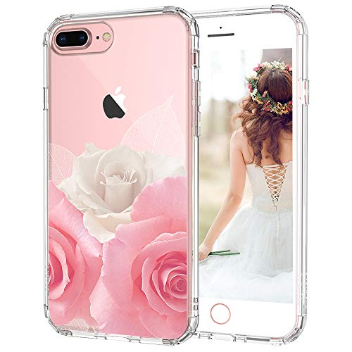 iPhone 8 Plus Case, iPhone 7 Plus Case for Girls, MOSNOVO Floral Roses Flower Clear Design Plastic Back Case with TPU Bumper Protective Case Cover for iPhone 7 Plus/iPhone 8 Plus