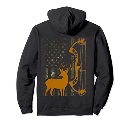 Camo American Flag Buck Hunting Gift for Deer Hunter Bow Pullover Hoodie