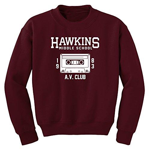 Hawkins Middle School AV Club Sweatshirt (Maroon, L)