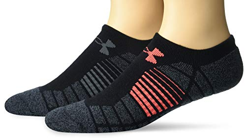 Under Armour Adult Golf Elevated Performance No Show Socks, 2-Pairs , Black/Gray Assorted , Shoe Size: Mens 8-12, Womens 9-12