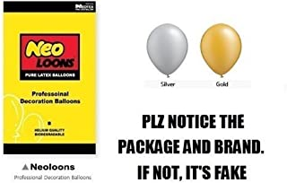 Neo LOONS 10 inch Pearl Gold & Silver Premium Latex Balloons for Birthdays Weddings Receptions Baby Showers Decorations, Pack of 100
