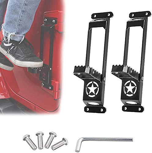 WXking Door Hinge Step Compatible with Car Doorstep Foot Pegs Folding Ladder,Metal Folding Foot Pedal Star Sign, Folding Stepping Ladder Doorstep (black) (Color : Black)