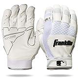 Franklin Sports 20965F4 Shok-Sorb X Batting Gloves, White/White, Adult Large