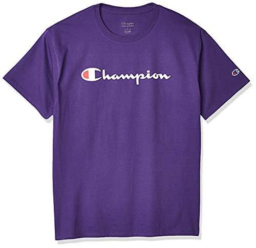 Champion Men's Classic Jersey Script T-Shirt, purple, Large