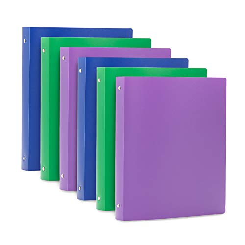 Blue Summit Supplies 3 Ring Plastic Binders, 1 Inch Light Flexible Plastic 3 Ring Binders, with Soft Cover and Pocket, Colored Blue, Green, and Purple Bendable Binders, Assorted Colors, 6-Pack