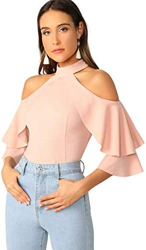 Romwe Women s Cute Cold Shoulder Ruffle Half Sleeve Slim Fit Blouse Tops Pink Large product image