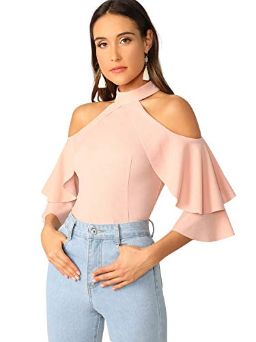 Romwe Women's Cute Cold Shoulder Ruffle Half Sleeve Slim Fit Blouse Tops Pink Large