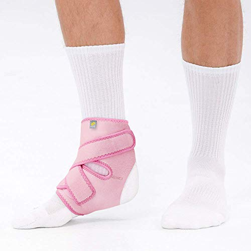 Bracoo FS10 Ankle Support, Open-Heel Ankle Brace with Adjustable Straps – for Achilles Tendonitis, Weak Ankles, Ligament Damage, Sprains and Sports Injuries – Pink, Large/Extra-Large