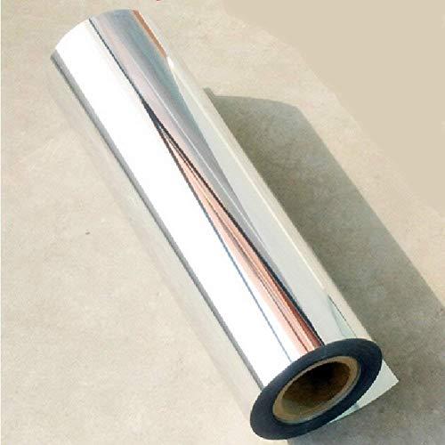 Película de vinilo autoadhesiva, color plata cromado, con efecto de espejo, 61cm x 152,5cm