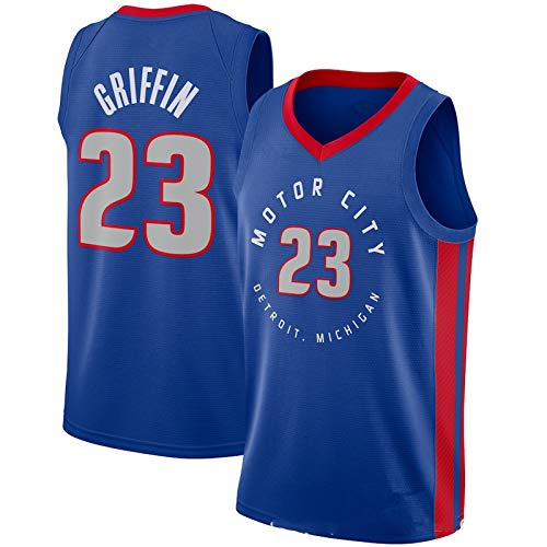 WEIXIA Camiseta de baloncesto para hombre, adecuada para Detroit 23 Griffin Summer Outdoor Chaleco cómodo y transpirable, camiseta de baloncesto azul-S