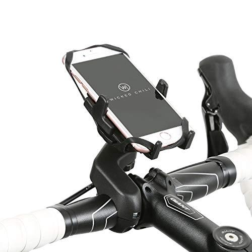 Wicked Chili Design Fiets/Bike Universele mobiele telefoonhouder voor Apple iPhone XS, XR, X, 8, 7, 6S, Samsung S10, S10e, S9, Huawei P20, P10, P9, LG G6, G5 (case compatibel, Made in Germany)