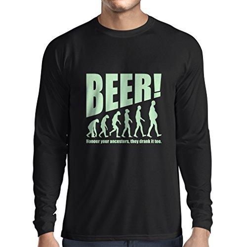 Camiseta de Manga Larga para Hombre The Beervolution - Ideas Divertidas únicas sarcásticas del Regalo para los Amantes de la Cerveza, evolución de consumición (Medium Negro Fluorescente)