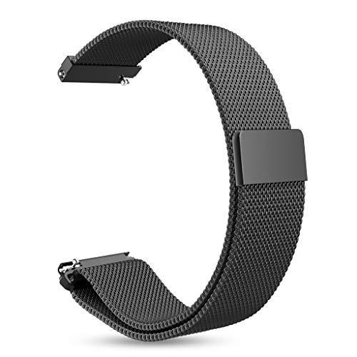 INF Armband für Gear S3 Classic, S3 Frontier, 22 mm Stegbreite, Edelstahl-Armband, Ersatz, Uhrenarmband, Wechselarmband, Magnetverschluss, schwarz