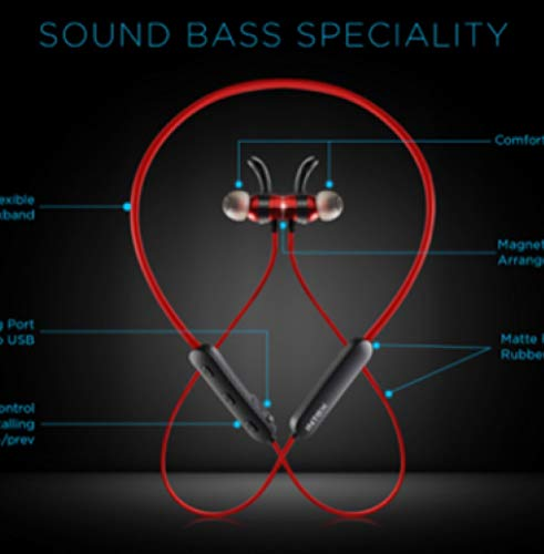 Intex Bt Musique Bass Wireless Bluetooth 5.0 Neckband Earphones with Mic. Bluetooth Headset Wireless with Stereo Sound, Booming Bass, Long Battery Life Black Red