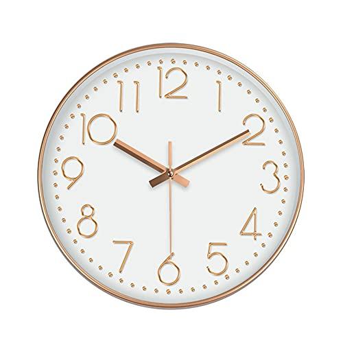 QLWY Reloj de Pared Silencioso, Reloj de Cuarzo de Cuarzo Redondo No-Ticking, Funciona con Pilas, para salón Dormitorio Cocina Decoración de Pared (D/4)