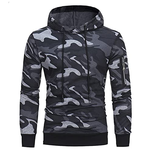 KJIUQ Herren Kapuzenpullover Camouflage Sweatershirt Pullover Herbst und Winter Casual Drawsting Sport Pullover Herren Pullover Hoodie Jacke