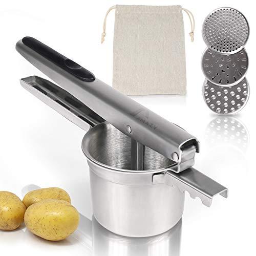 Amazy Schiacciapatate (incl. 3 presse intercambiabili + sacchetto patate) – Schiaccia patate manuale in acciaio INOX per purè di patate, gnocchi e verdure (tondo)