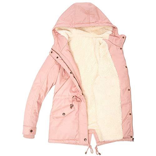 Janly Clearance Sale Abrigo de mujer, con cordón y capucha para mujer, abrigo cálido dentro de forro polar acolchado con cremallera delgada, para Navidad (Rosa-3XL)