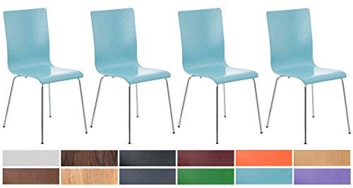 CLP 4er-Set Wartezimmerstuhl Pepe mit ergonomisch geformten Holzsitz und Metallgestell I 4X Konferenzstuhl erhältlich Hellblau